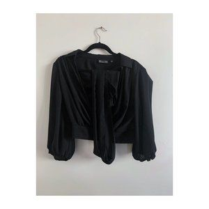 Black Cropped Faux Wrap Top NY&C